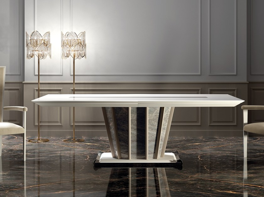 Lacquered rectangular wooden dining table DESIRE | Rectangular table by Vismara Design