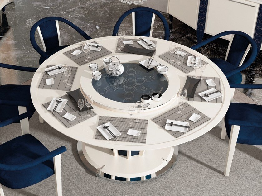 Lacquered wooden dining table with Lazy Susan DESIRE | Round table by Vismara Design