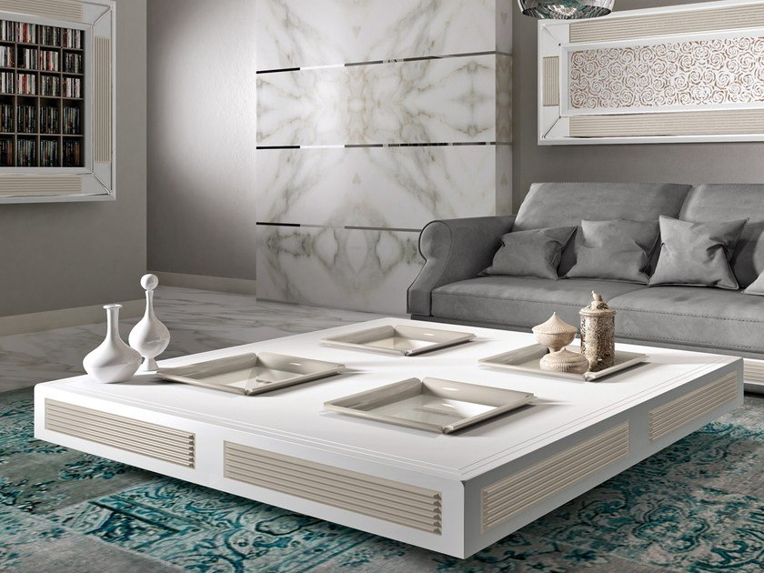 Low square wooden coffee table for living room DESIRE WINDOWS | Square coffee table by Vismara Design