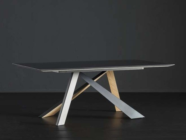 Rectangular iron dining table DETROIT + METAL/ LEGNO by AltaCorte