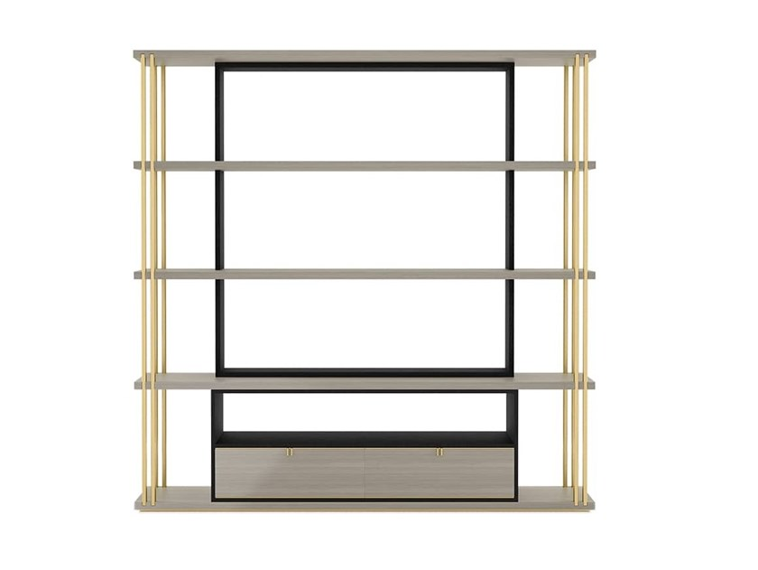 Open wooden bookcase with drawers DHAKA | Bookcase by FRATO