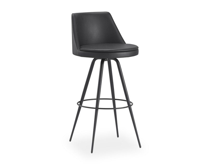 Leather stool with footrest DIA50 | Leather stool by B&T Design