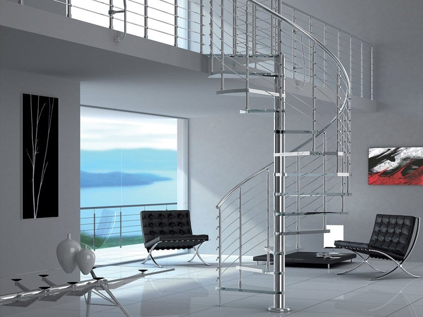 Glass and steel Spiral staircase DIABLE GLASS by MOBIROLO
