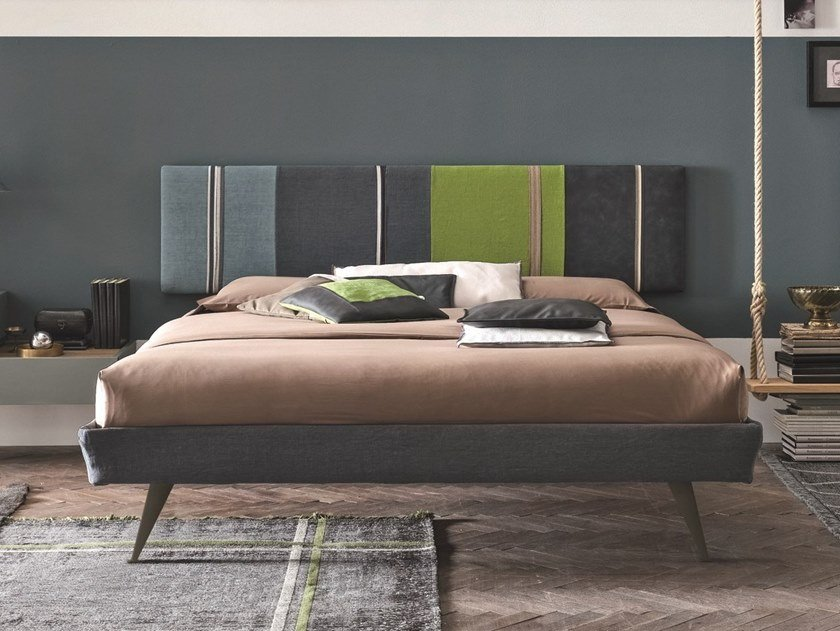 Fabric double bed with upholstered headboard DIAGONAL | Bed with upholstered headboard by Gruppo Tomasella