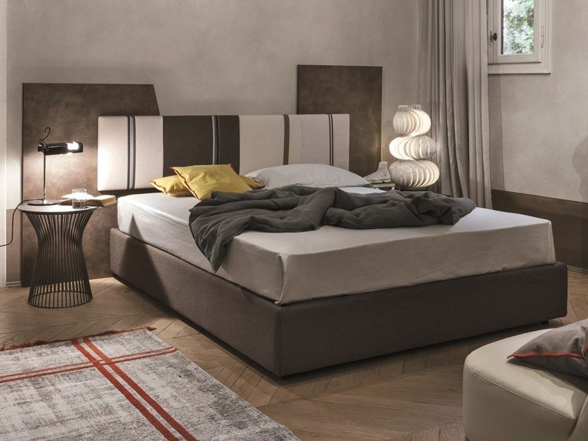 Storage bed with upholstered headboard DIAGONAL | Storage bed by Gruppo Tomasella