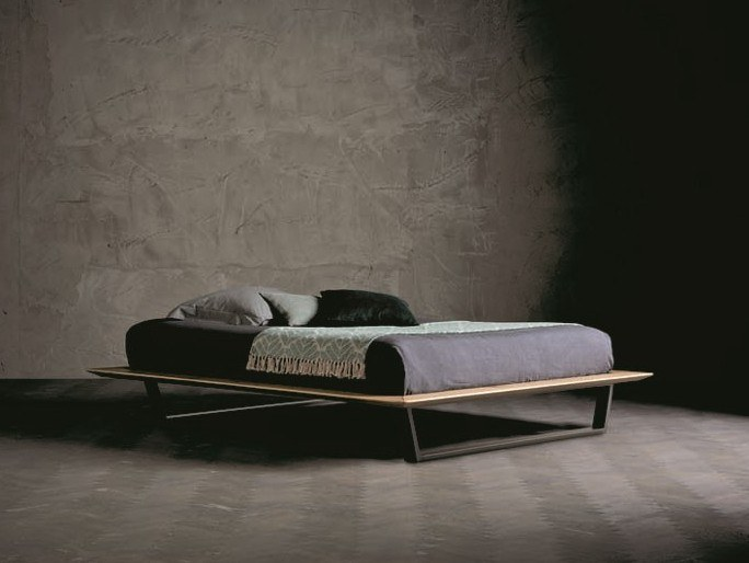 Solid wood double bed DIAMANTE TRAPEZIO by AltaCorte