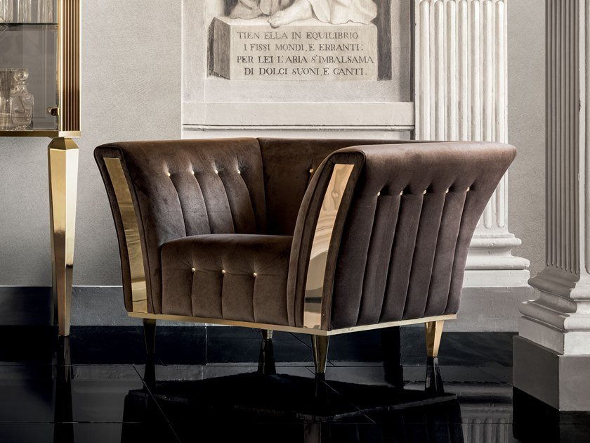 Tufted upholstered armchair with armrests DIAMANTE | Armchair by ADORA