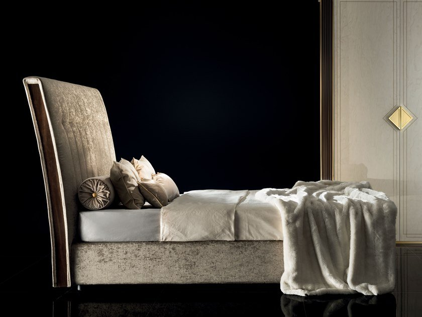 Storage bed with upholstered headboard DIAMANTE | Upholstered bed by ADORA