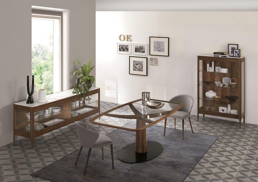 Tavoli In Legno E Vetro : Tavolo rettangolare in legno e vetro diamante tavolo in legno e