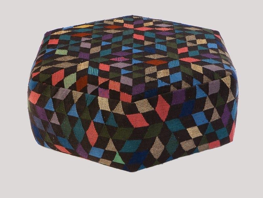 Upholstered wool pouf DIAMOND BLACK | Pouf by Golran