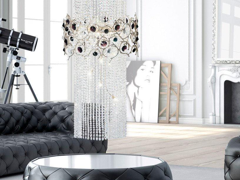 Halogen pendant lamp with crystals DIAMOND | Pendant lamp by Serip