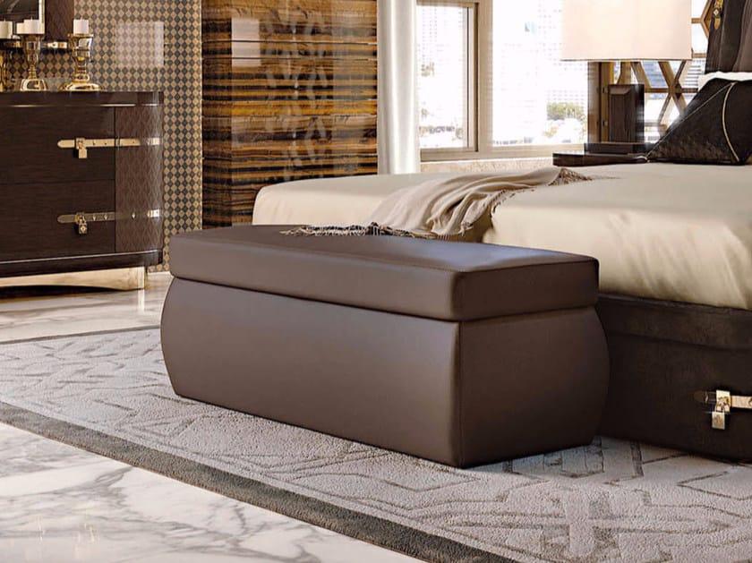Upholstered rectangular leather pouf DIAMOND | Rectangular pouf by Turri