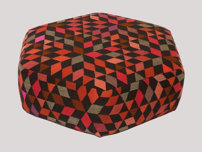 Upholstered wool pouf DIAMOND STRAWBERRY   Pouf by Golran