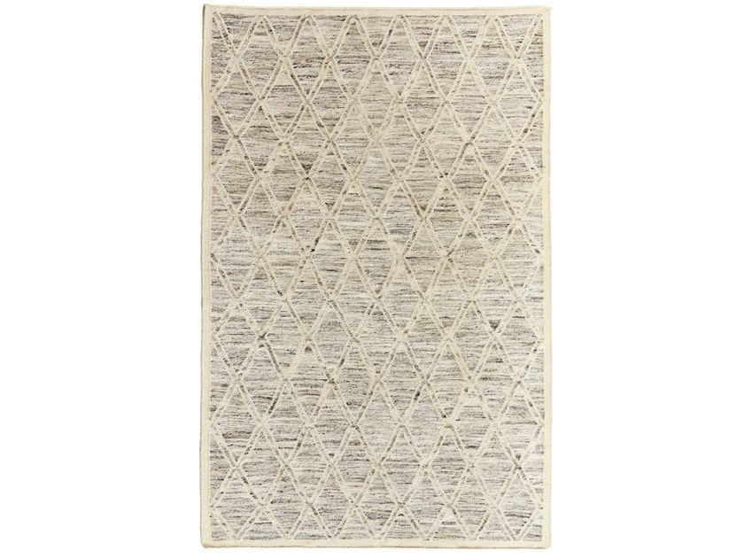 Patterned handmade rectangular wool and cotton rug DIAMONDS DR 217 A by Kuatro