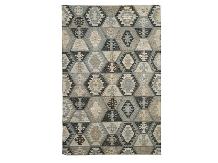 Patterned handmade rectangular jute, wool and cotton rug DIAMONDS DR-288-C by Kuatro