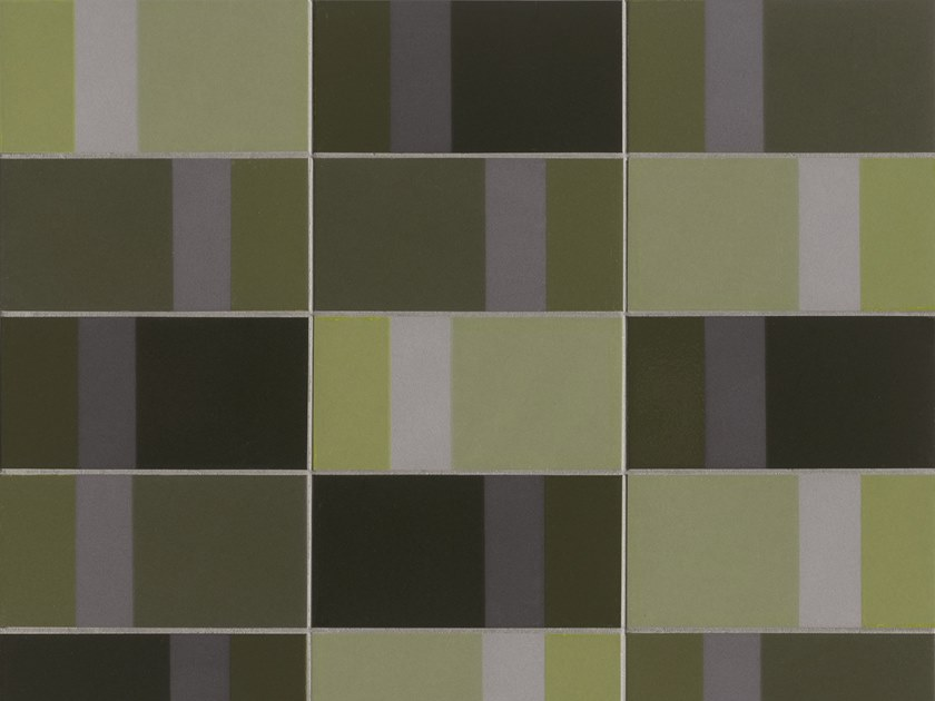 Glazed stoneware wall tiles DIARAMA LIME DARK by MUTINA