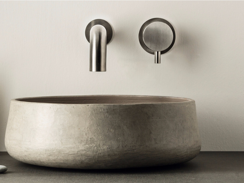 2 hole wall-mounted stainless steel washbasin mixer with aerator DIMENSIONE74 5740+5100 by MINA