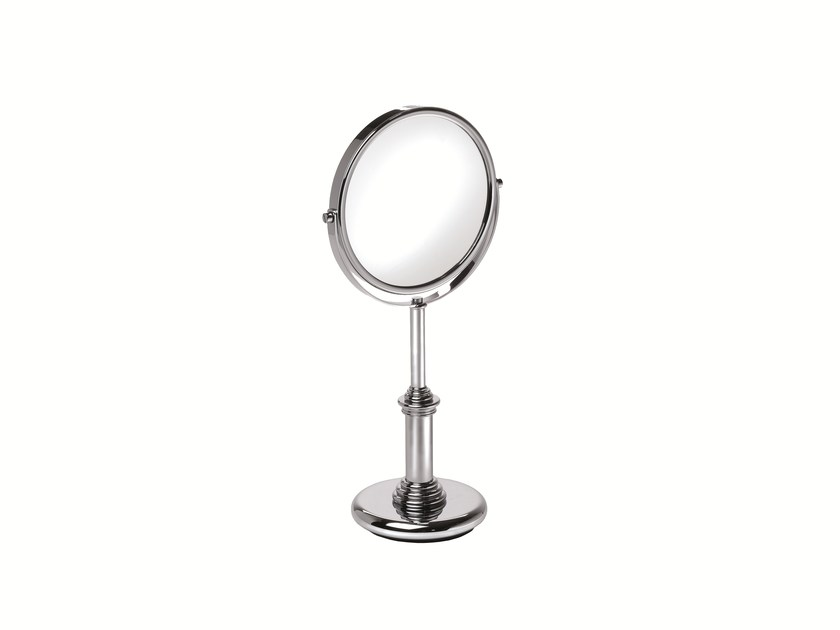 Double-sided countertop round shaving mirror DINA 908104002 | Countertop shaving mirror by pomd'or