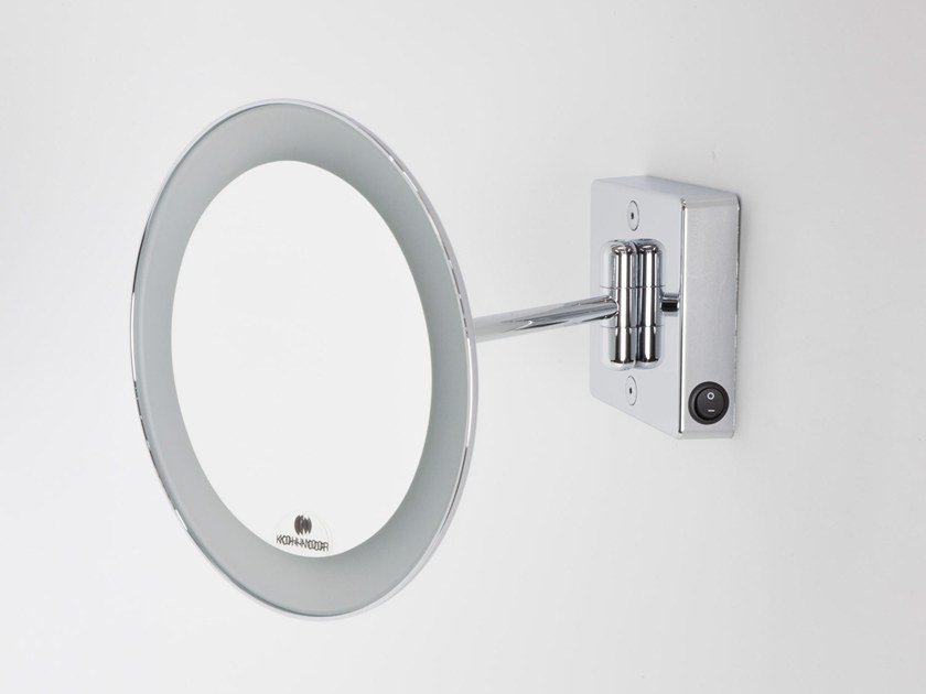 Wall Mounted Round Shaving Mirror With Integrated Lighting Discolo Led