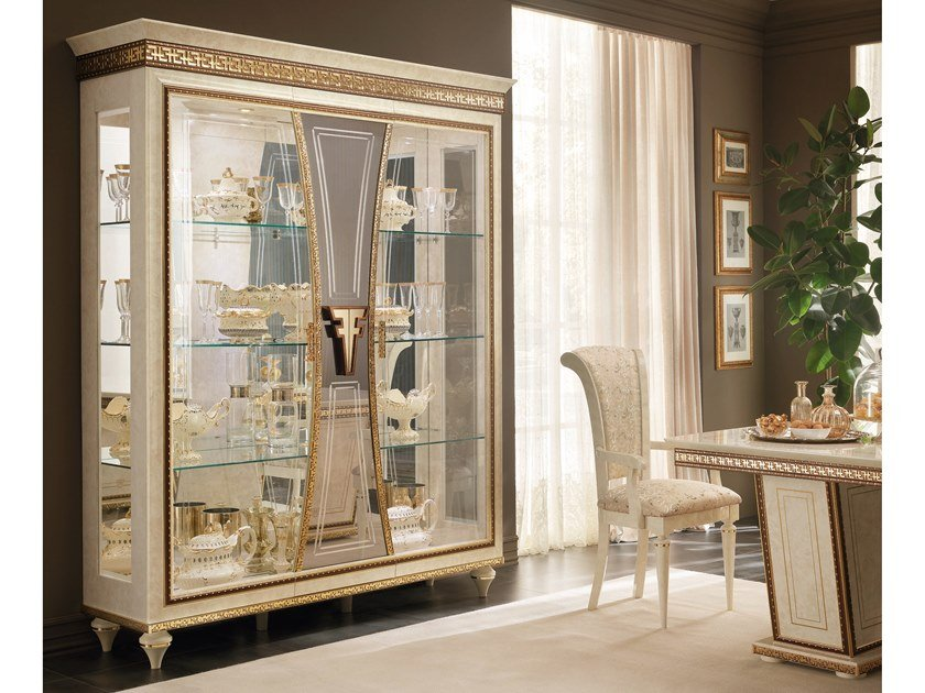 Wood and glass display cabinet FANTASIA | Display cabinet by Arredoclassic