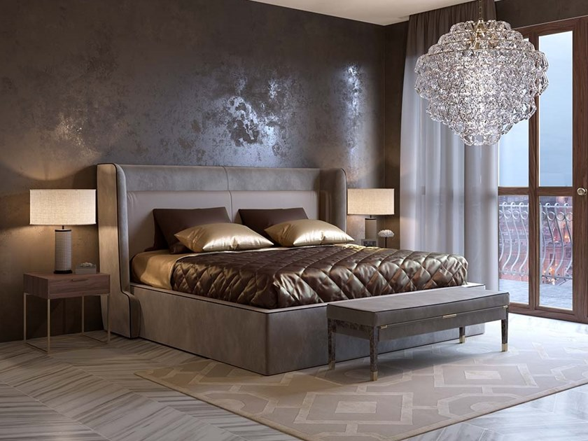 Leather bed double bed with upholstered headboard DIVINA by Scandal