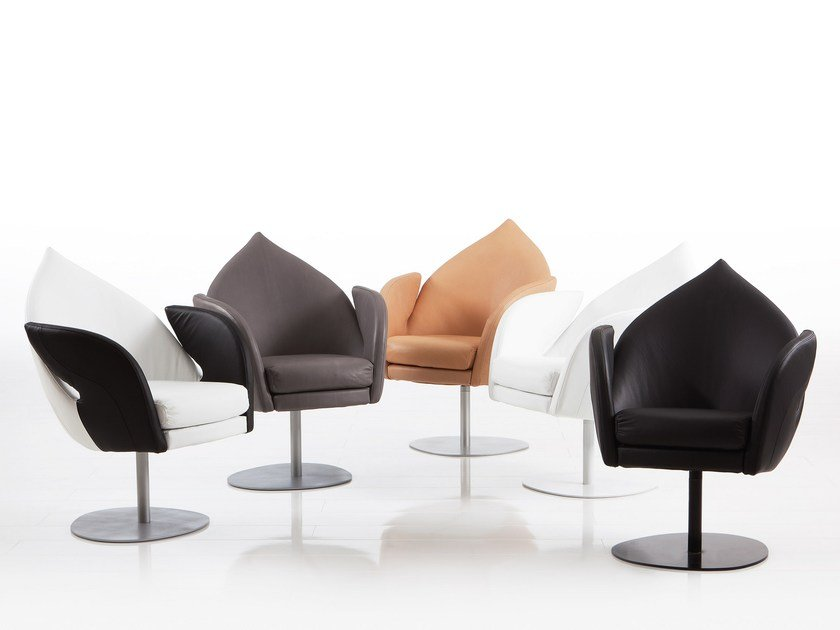 Swivel leather armchair with armrests DIVE | Leather armchair by brühl