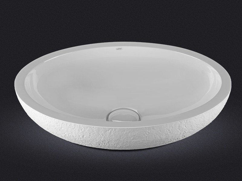 Countertop oval resin washbasin DOLCE OVAL TEXTURE by Vallvé