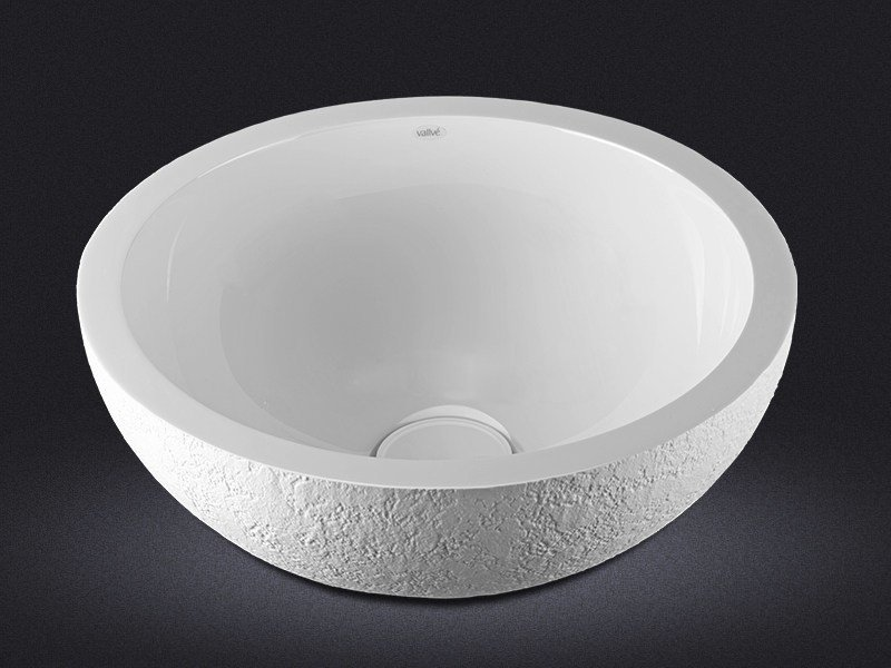 Countertop round resin washbasin DOLCE ROUND TEXTURE by Vallvé