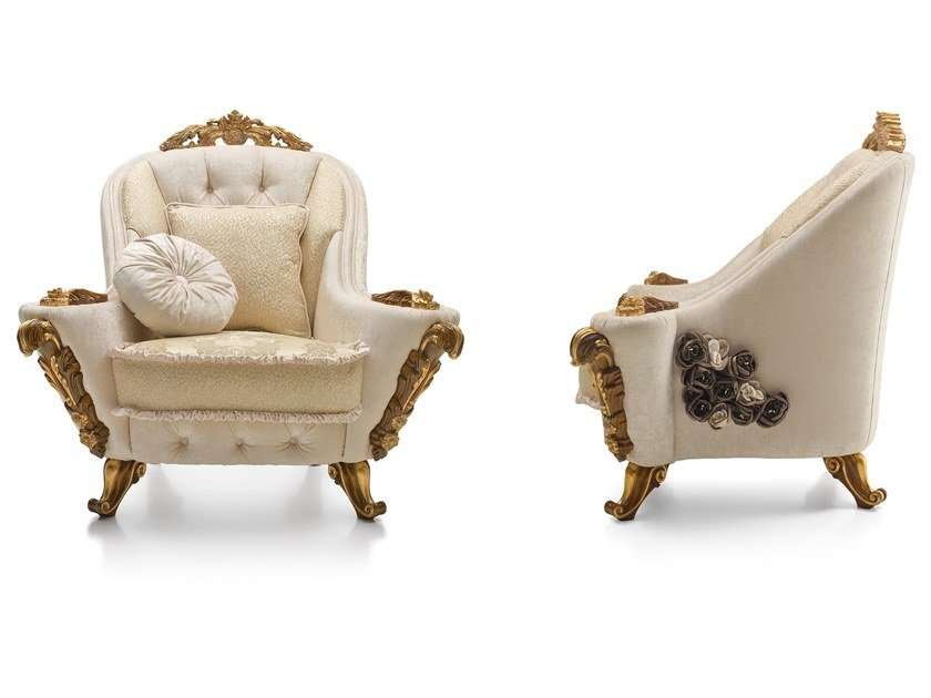 Tufted fabric armchair with armrests DOLCEVITA | Armchair by A.R. Arredamenti