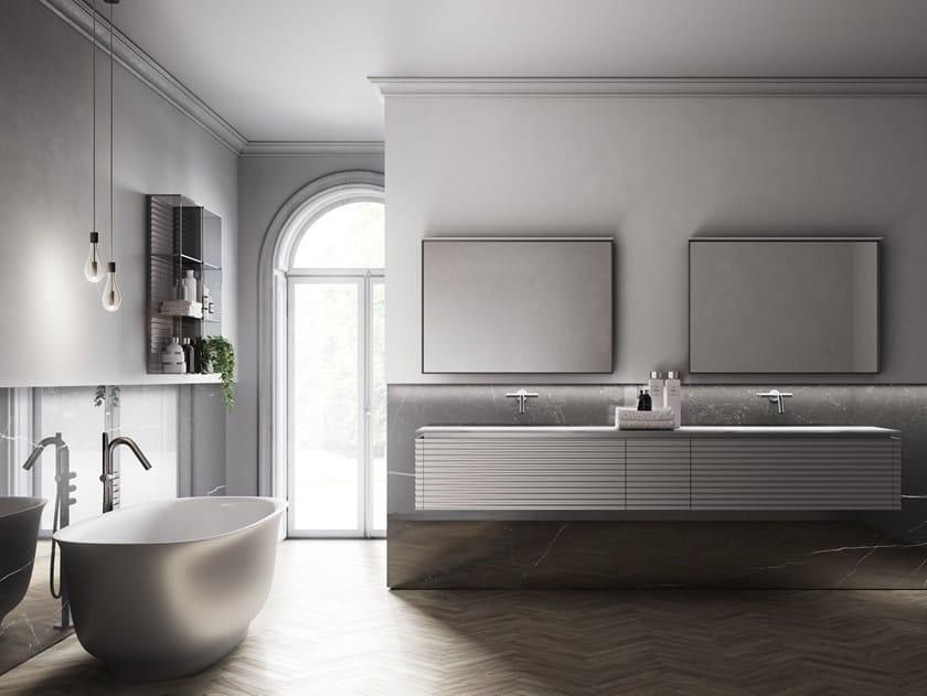 Mobile lavabo doppio con specchio dolcevita by aqua comp