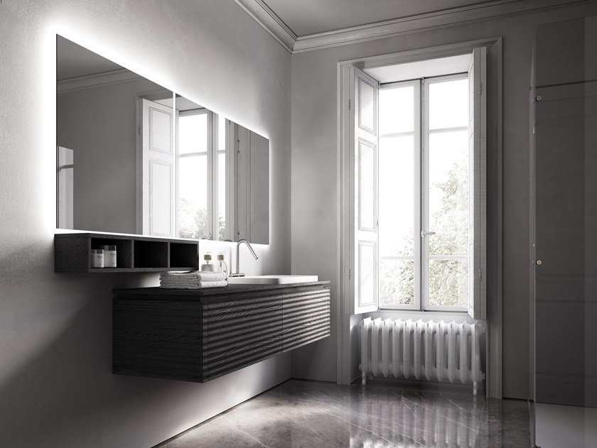 Wall-mounted vanity unit with mirror DOLCEVITA BY AQUA COMP. 08 by Idea