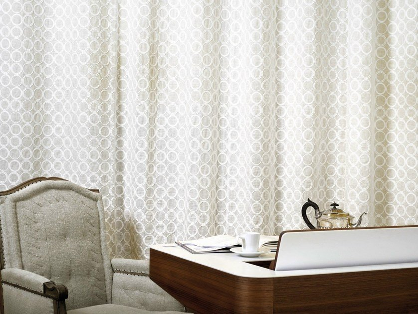 Embroidered linen fabric DOLCEZZA LI 514 02 by Élitis