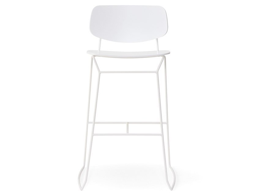 High sled base metal stool with back DOLL | Sled base stool by BILLIANI