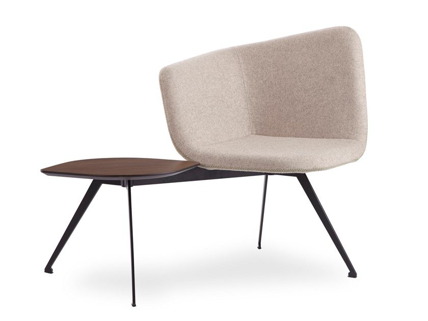 Fabric easy chair with integrated magazine rack DOMINO | Easy chair with integrated magazine rack by B&T Design