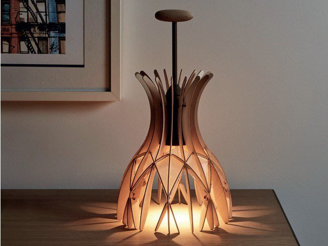 LED wooden table lamp DOMITA M/36 by BOVER