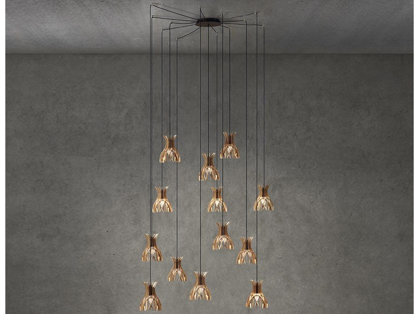 LED wooden pendant lamp DOMITA S/20/13L by BOVER