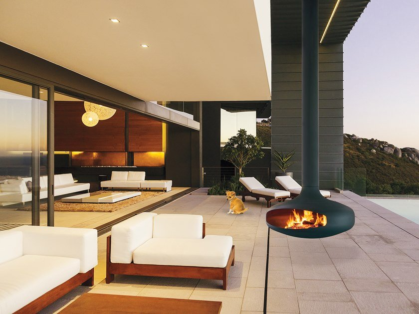 Wood-burning outdoor hanging fireplace DOMOFOCUS | Outdoor fireplace by Focus creation