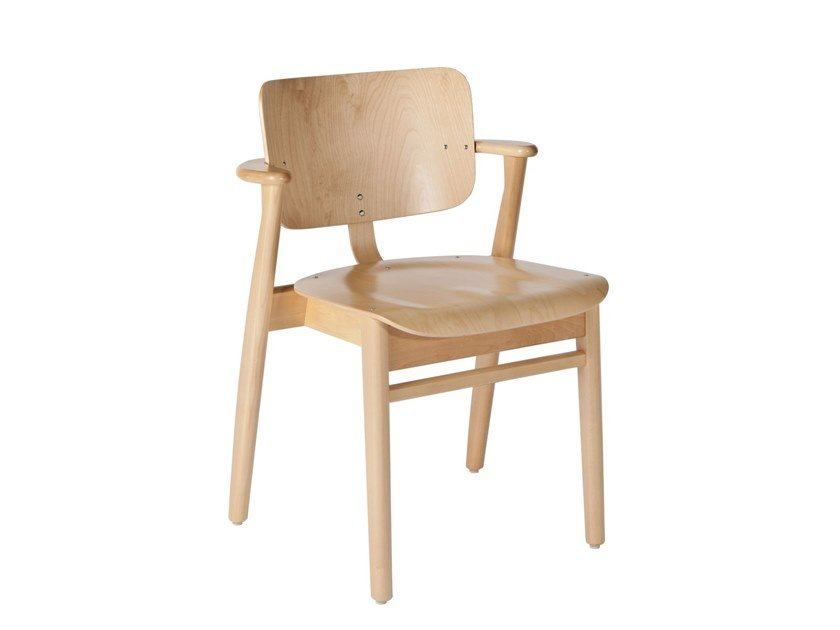 Wooden chair with armrests DOMUS | Chair by Artek