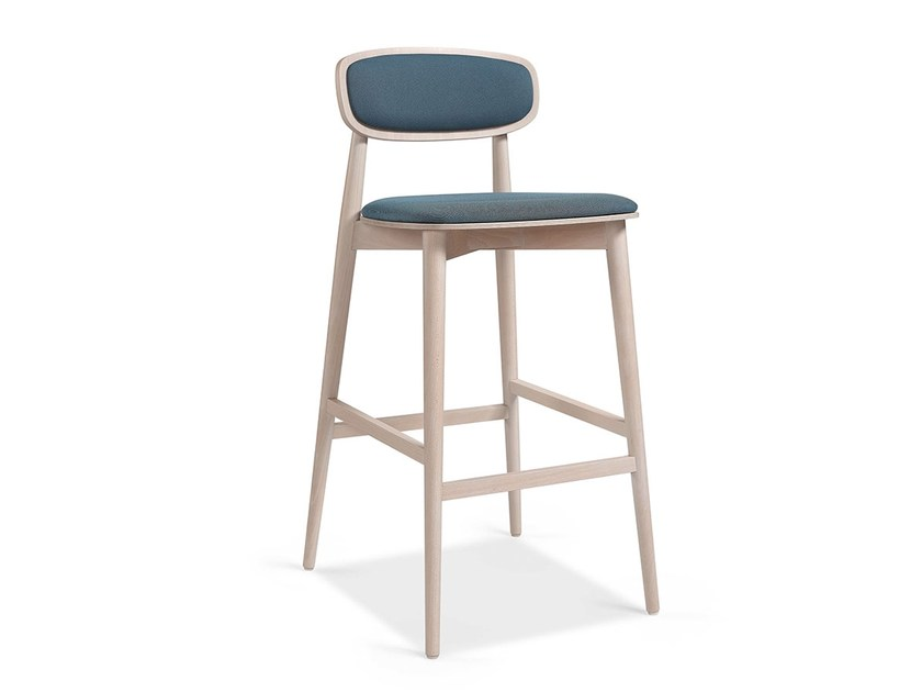 High wooden stool with footrest DONASELLA EST BAR by Fenabel