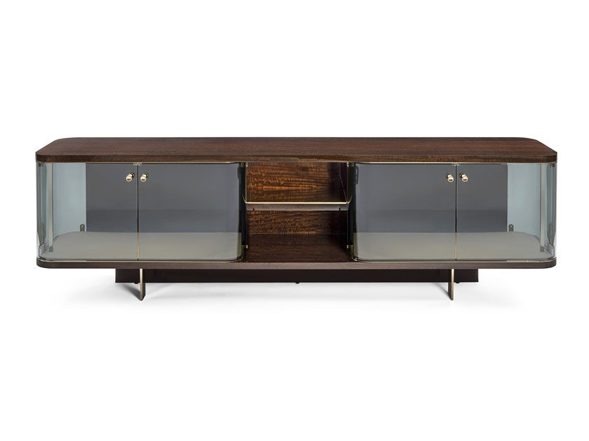 Lacquered eucalyptus sideboard with doors DORINDA by Visionnaire