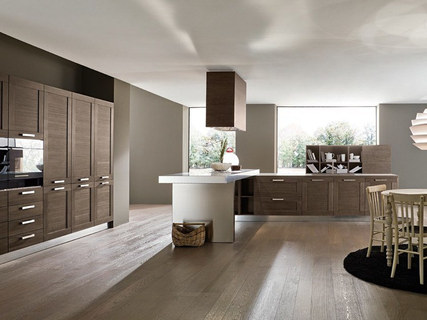 Kitchen with handles with peninsula DONNA | Kitchen with peninsula by DIBIESSE