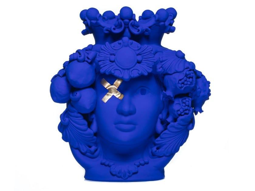 Terracotta vase DONNA ROSALIA BLU OLTREMARE by Stefania Boemi