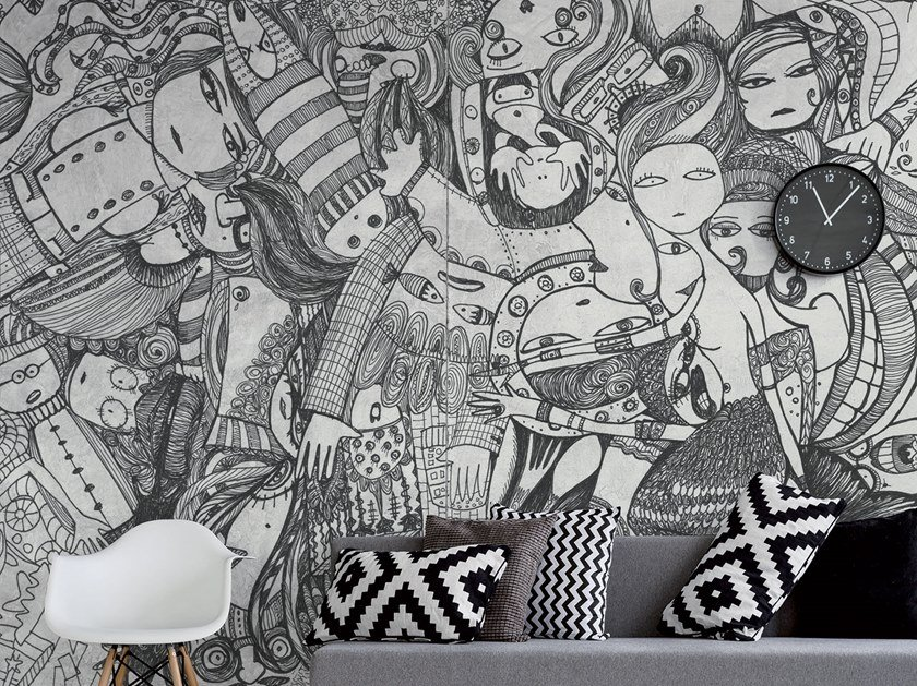 Contemporary style rubber waterproof wallpaper DOODLE by Tecnografica Italian Wallcoverings