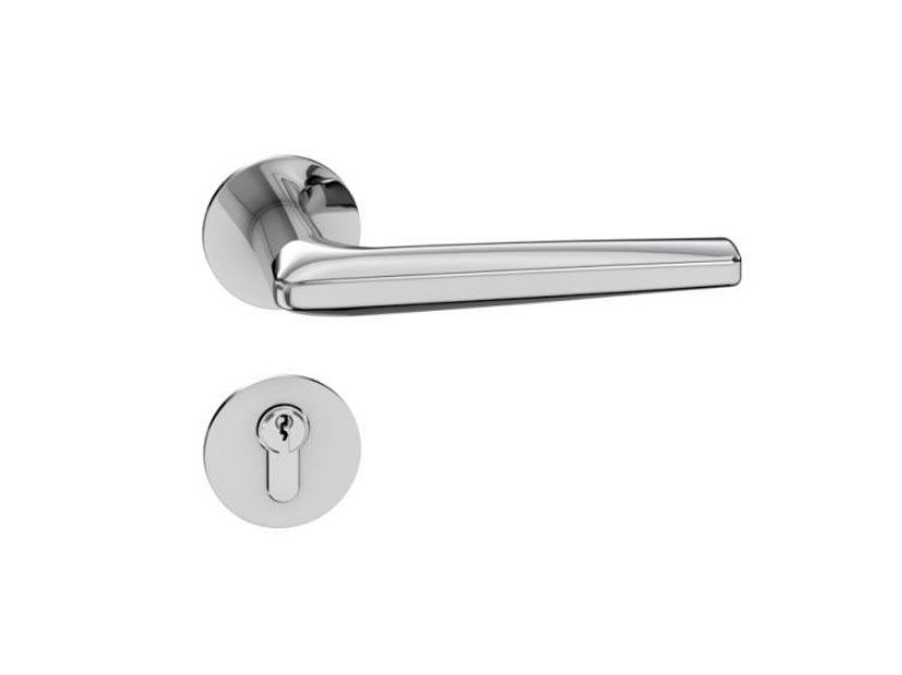 Stainless steel door handle on rose RANGE 260 | Door handle by HEWI