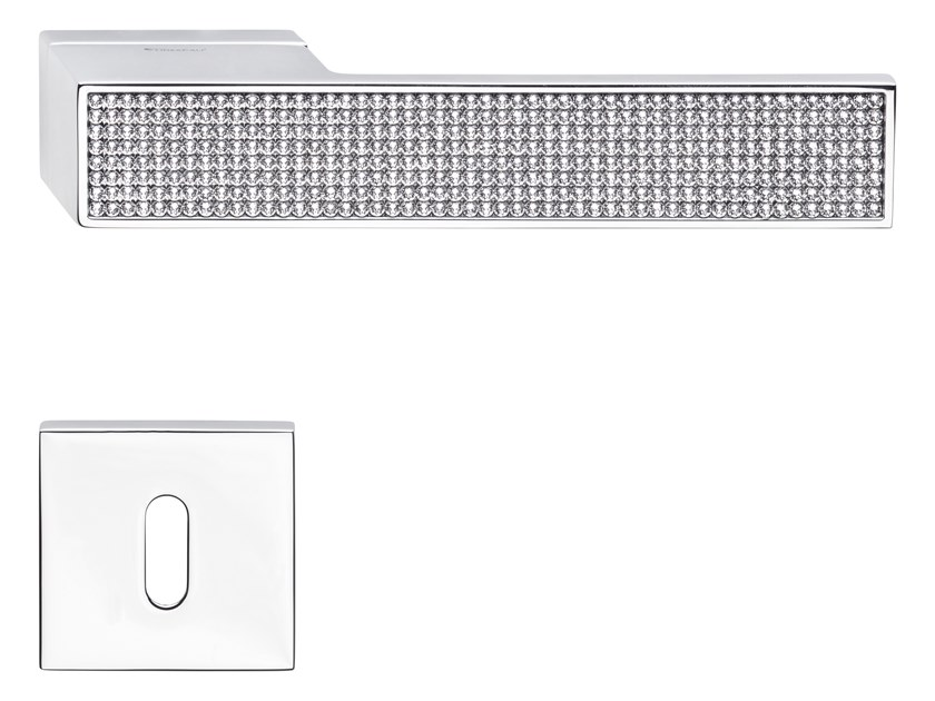 Zamak door handle with Swarovski® Crystals with lock LOFT ZINCRAL MESH   Door handle by LINEA CALI'