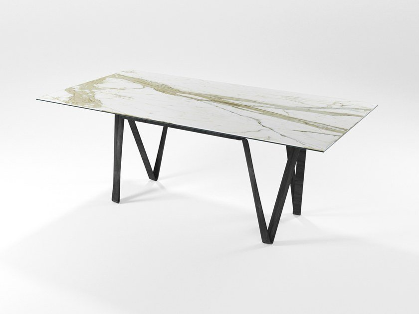 Rectangular glass ceramic dining table DOPPIAVI | Glass ceramic table by Barel