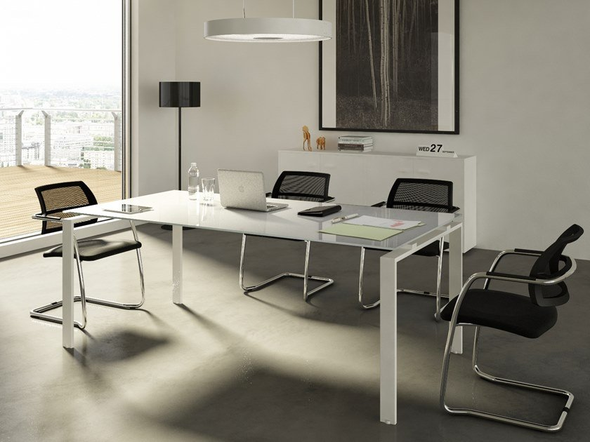 Rectangular glass office desk DORIA | Glass office desk by CUF Milano