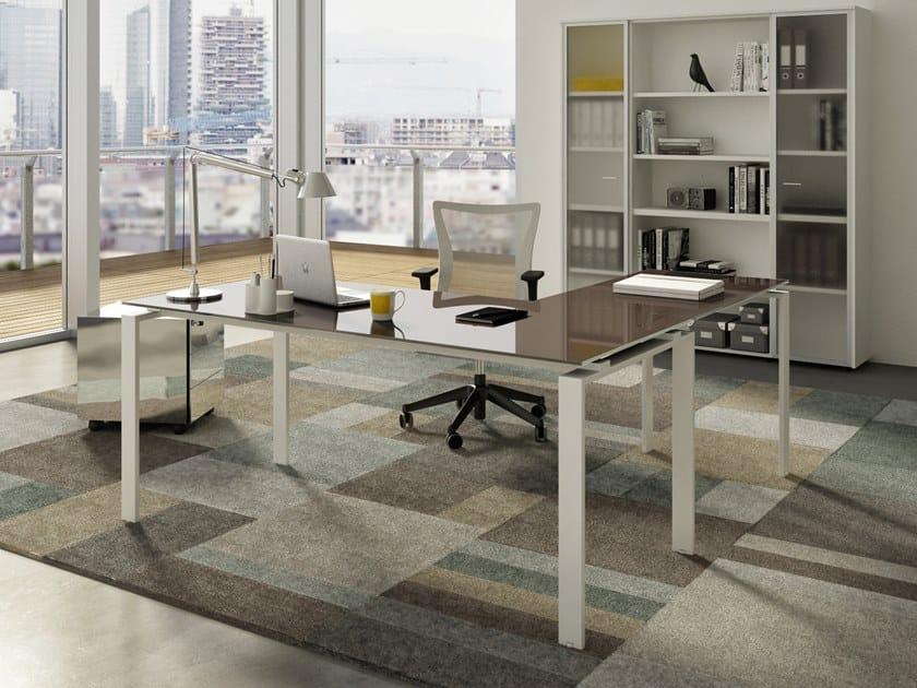 L-shaped glass office desk DORIA | L-shaped office desk by CUF Milano