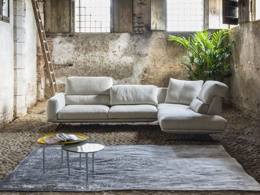 Corner fabric sofa with removable cover DORIAL by Gobbo Salotti