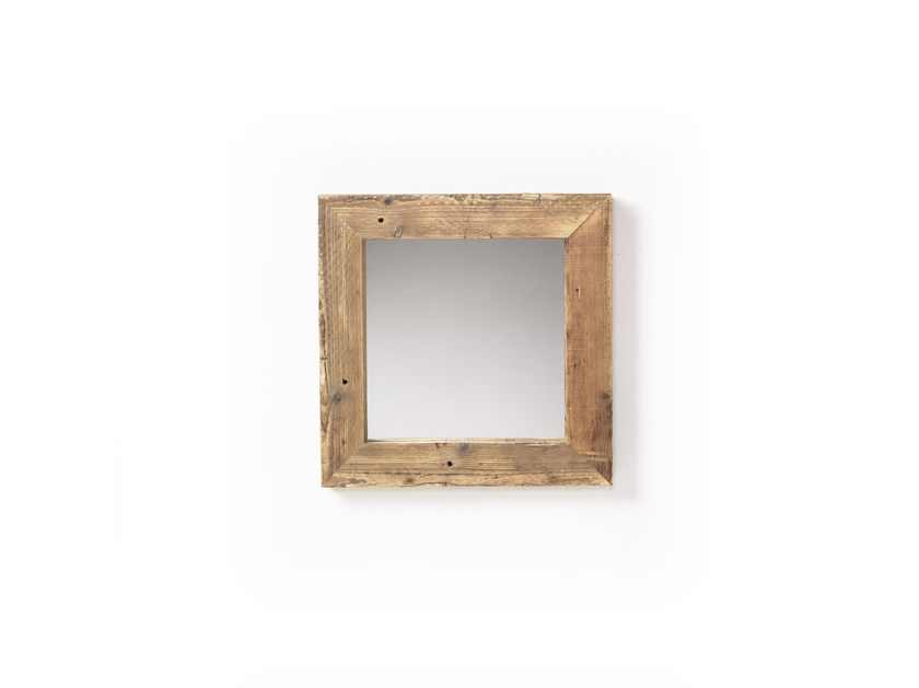Square wall-mounted framed spruce mirror DORIAN by Vontree
